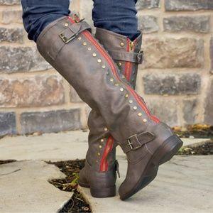 Journee Spokane Knee High Riding Boots Brown Sz 11